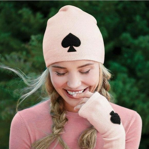 kate spade Accessories - Kate Spade Solid Spade Beanie in Rose Dew Pink